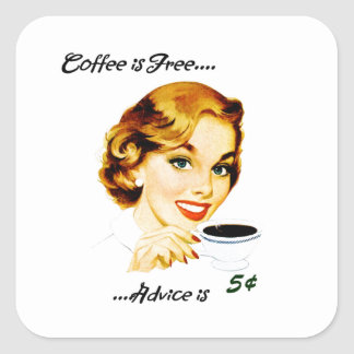 Retro Housewife Coffee and Advice Square Sticker