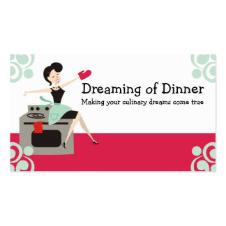 Retro housewife culinary, chef, catering biz cards Double-Sided standard business cards (Pack of 100)