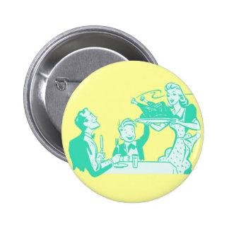 Retro Housewife & Family Pinback Button