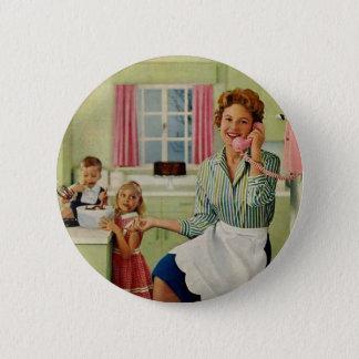 Retro Housewife in Kitchen Pinback Button