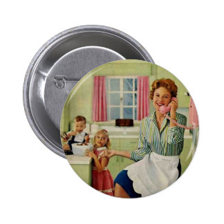 Retro Housewife in Kitchen Pinback Button