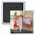 Retro Housewife on Thanksgiving 2 Inch Square Magnet