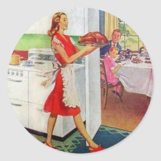 Retro Housewife on Thanksgiving Classic Round Sticker