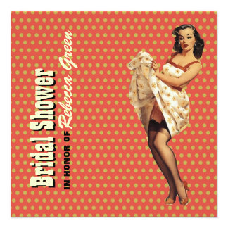 retro housewife pin up girl bridal shower card
