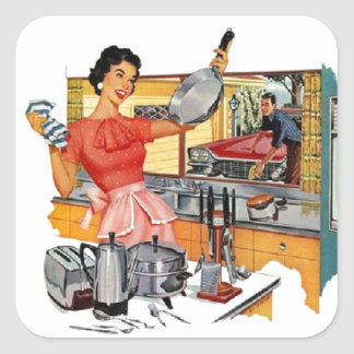 Retro Housewife Square Sticker
