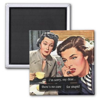 """Retro Housewife """"There's No Cure for Stupid"""" 2 Inch Square Magnet"""