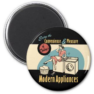 Retro Housewife Washer Dryer 2 Inch Round Magnet