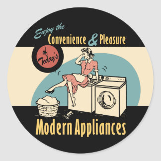Retro Housewife Washer Dryer Classic Round Sticker