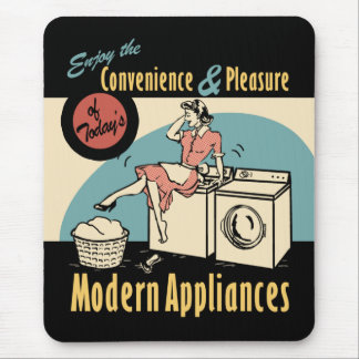 Retro Housewife Washer Dryer Mouse Pad