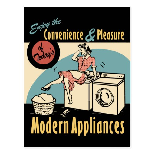 Retro Housewife Washer Dryer Postcards