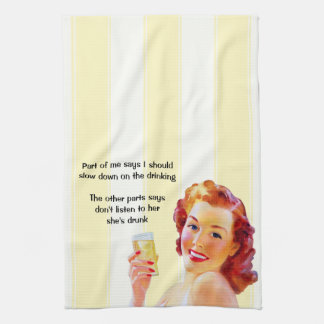 Retro Housewife with Cocktail Funny Drunk Quote Hand Towel