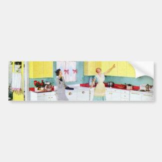 Retro Housewives in Kitchen Bumper Sticker
