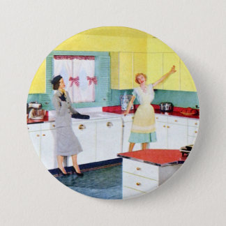 Retro Housewives in Kitchen Button