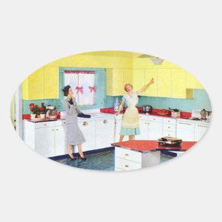 Retro Housewives in Kitchen Sticker