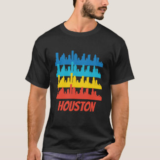 Retro Houston TX Skyline Pop Art T-Shirt
