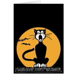Retro Howling Black Cat Halloween Birthday Card