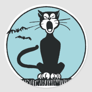 Retro Howling Halloween Cat and Blue Moon Classic Round Sticker
