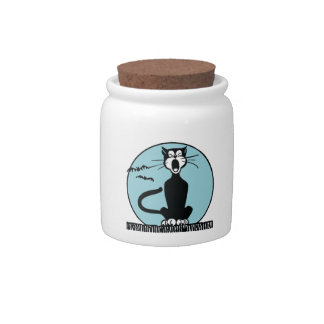 Retro Howling Halloween Cat Candy Jar