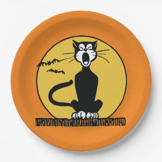 Retro Howling Halloween Cat Plate