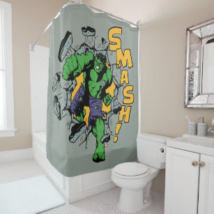 Retro Hulk Smash Shower Curtain