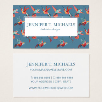 Retro Hummingbird Pattern | Monogram Business Card