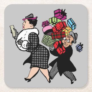 Retro Husband and Wife Holiday Shopping Coaster
