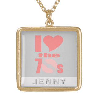 Retro I Heart Love the 70s Music Vinyl Record Gold Plated Necklace