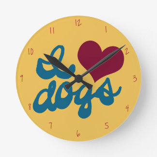 Retro I Love Dogs Round Clock