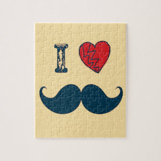 Retro I Love the Mustache Moustache Jigsaw Puzzle