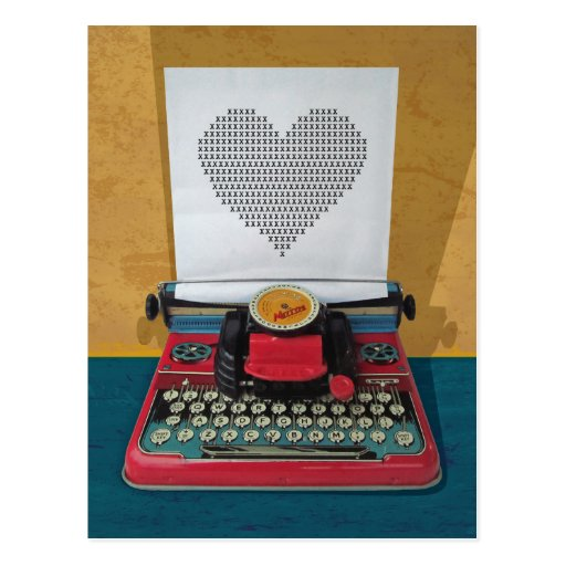 Retro Vintage Toy Typewriter Postcard