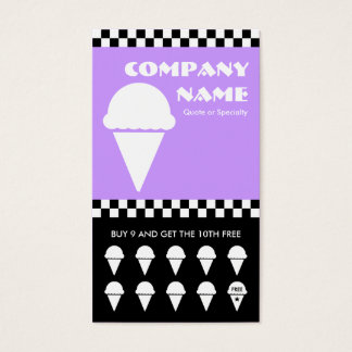 retro ice cream checkers punchcard business card