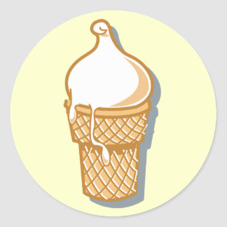 retro ice cream cone classic round sticker