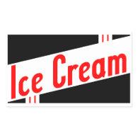 retro ice cream rectangle sticker