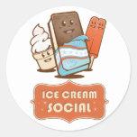 Retro Ice Cream Social Round Sticker
