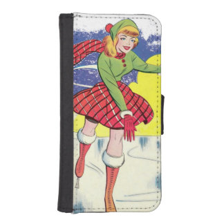 Retro Ice Skater Wallet Phone Case For iPhone SE/5/5s