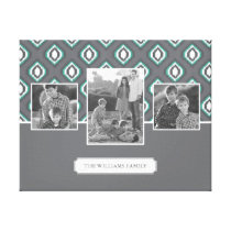 Retro Ikat Tribal Pattern | Family Photos & Text Canvas Print