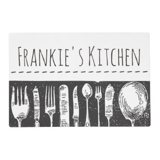 Retro Illustrated Cutlery Placemat