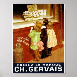 Retro illustration children shop window cheese poster
