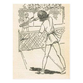 Retro illustration, Game of tennis Postcard