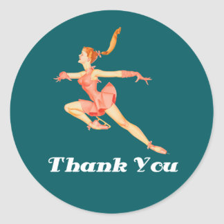 Retro Image Figure Skater In Pink Outfit Thank You Classic Round Sticker