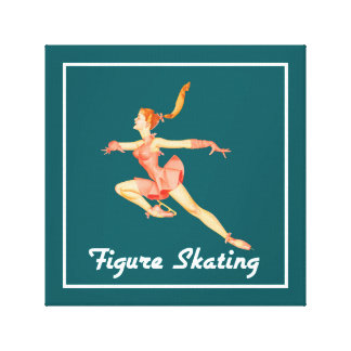 Retro Image of A Figure Skater In A Pink Outfit Canvas Print