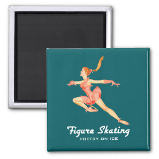 Retro Image of A Figure Skater In A Pink Outfit Magnet
