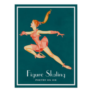 Retro Image of A Figure Skater In A Pink Outfit Poster