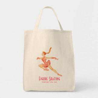 Retro Image of A Figure Skater In A Pink Outfit Tote Bag