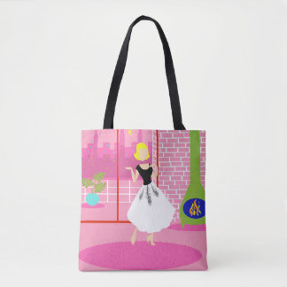Retro In the Pink All-Over Print Tote Bag