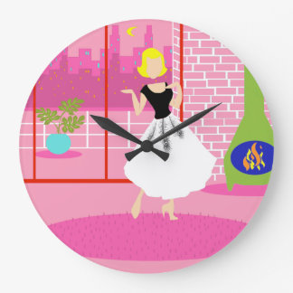 Retro In the Pink Round Acrylic Clock