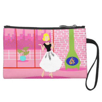 Retro In the Pink Sueded Mini Clutch Wristlet Purses