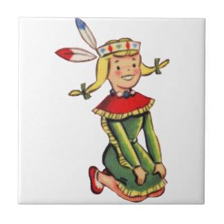 Retro Indian Princess Costume Small Square Tile