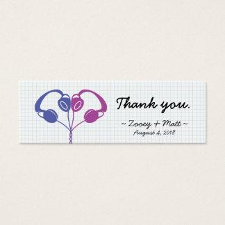 Retro Indie Headphones Heart Wedding (Purple/Blue) Mini Business Card