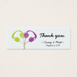 Retro Indie Headphones Heart Wedding (Purple/Lime) Mini Business Card